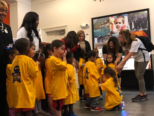 Children from YWCA York's Pre-K Counts program arrive for a meet-and-greet to celebrate the opening of a new classroom and additional state funding on Wednesday, Oct. 3, 2018.