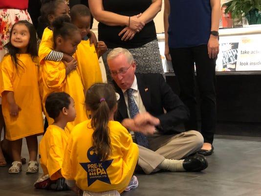 J.T. Hand greets Pre-K Counts children