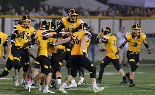 Red Lion celebrates after defeating York High 21-20, Friday, Oct. 5, 2018. The Lions hope to do some more celebrating on Friday night after their District 3 Class 6-A opener vs. Wilson.  John A. Pavoncello