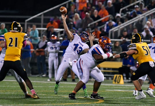 Seth Bernstein, shown here launching a pass in a game earlier this season, ranks sixth in the league in touchdown passes with 15. DISPATCH FILE PHOTO