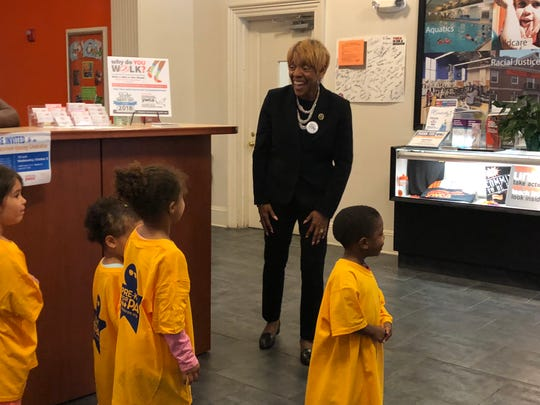 State Rep. Carol Hill-Evans, D-York City, who supported more state funding for pre-K education in 2018, greets children in YWCA York's Pre-K Counts program.
