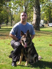 Officer Michael Sampere and his K9 partner, Brando, worked for York Area Regional Police years ago. Brando served with the department from 2006 to 2013. Brando died Friday.