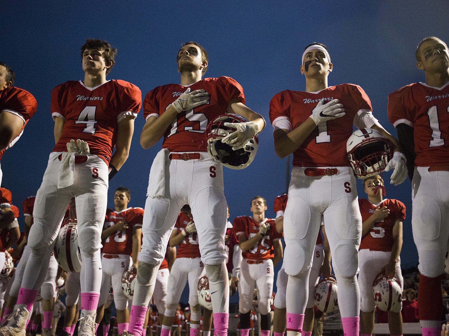 Susquehannock stands for the playing of the national anthem prior to the game. Susquehannock vs Northern York in football at Susquehannock High School in Shrewsbury Township, Friday, October 5, 2018.