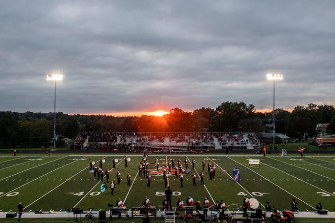 The York Suburban marching band performs prior to a division II football game at York Suburban High School, Friday, Oct. 5, 2018. The Dover Eagles beat the York Suburban Trojans, 34-12.