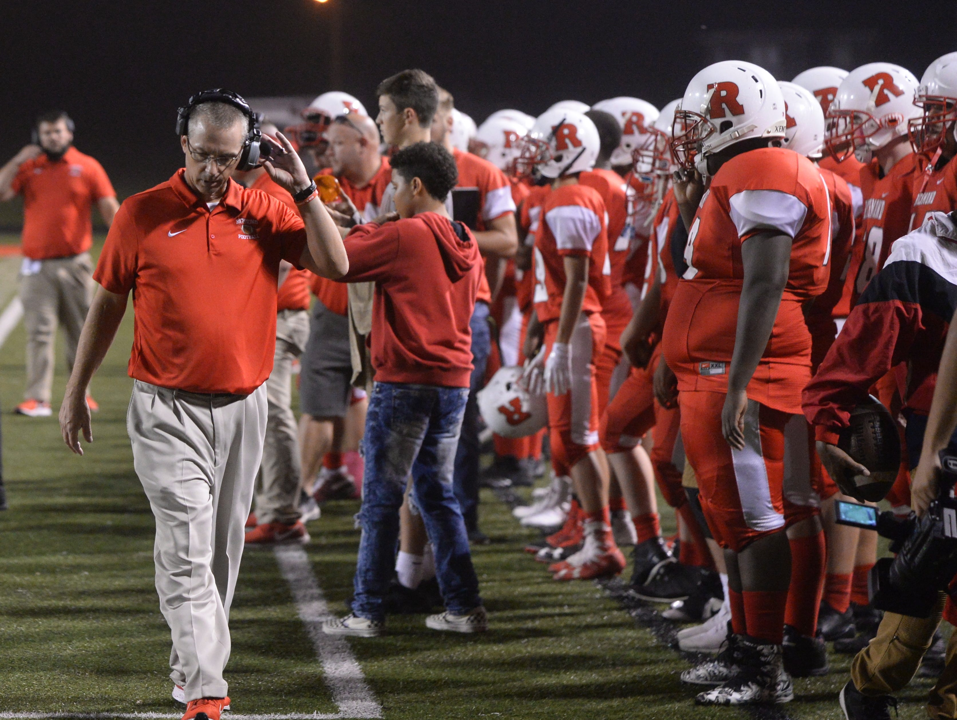 Richhmond High School football coach Tony Lewis during the Richmond High School football team's  27-26 loss to Anderson Friday, Oct. 5, 2018 at Lyboult Field.