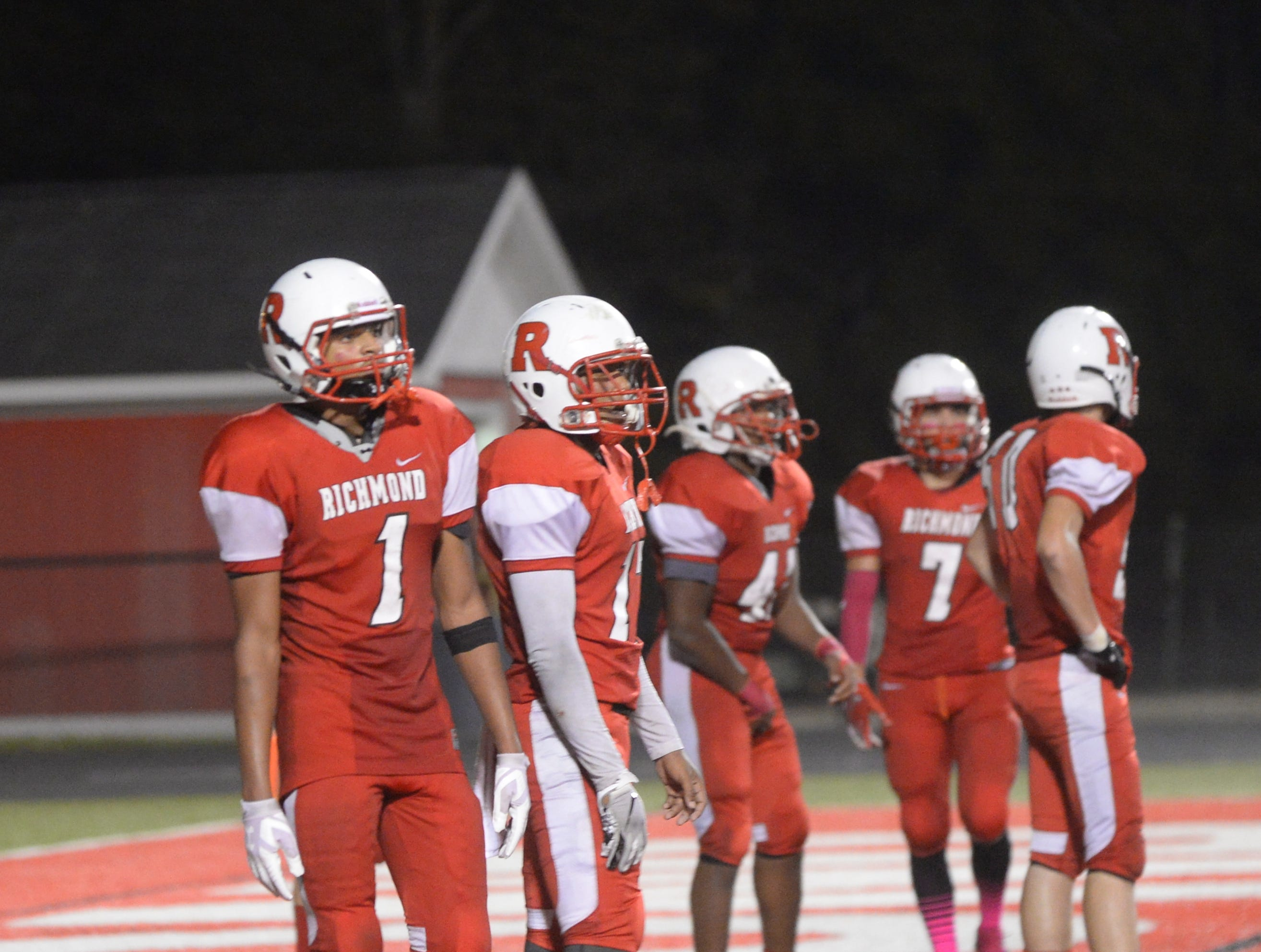 Members of the Richmond High School football team during the Richmond High School football team's  27-26 loss to Anderson Friday, Oct. 5, 2018 at Lyboult Field.