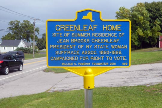 Roadside marker commemorating the summer home of suffragist Jean Brooks Greenleaf on Greenleaf Road, Greece.
