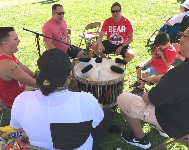Canadian drummers from Bear Creek of Sault Ste. Marie, Ontario, handled host drum duties Saturday at the Stillwater Powwow at the Shasta District Fair grounds.