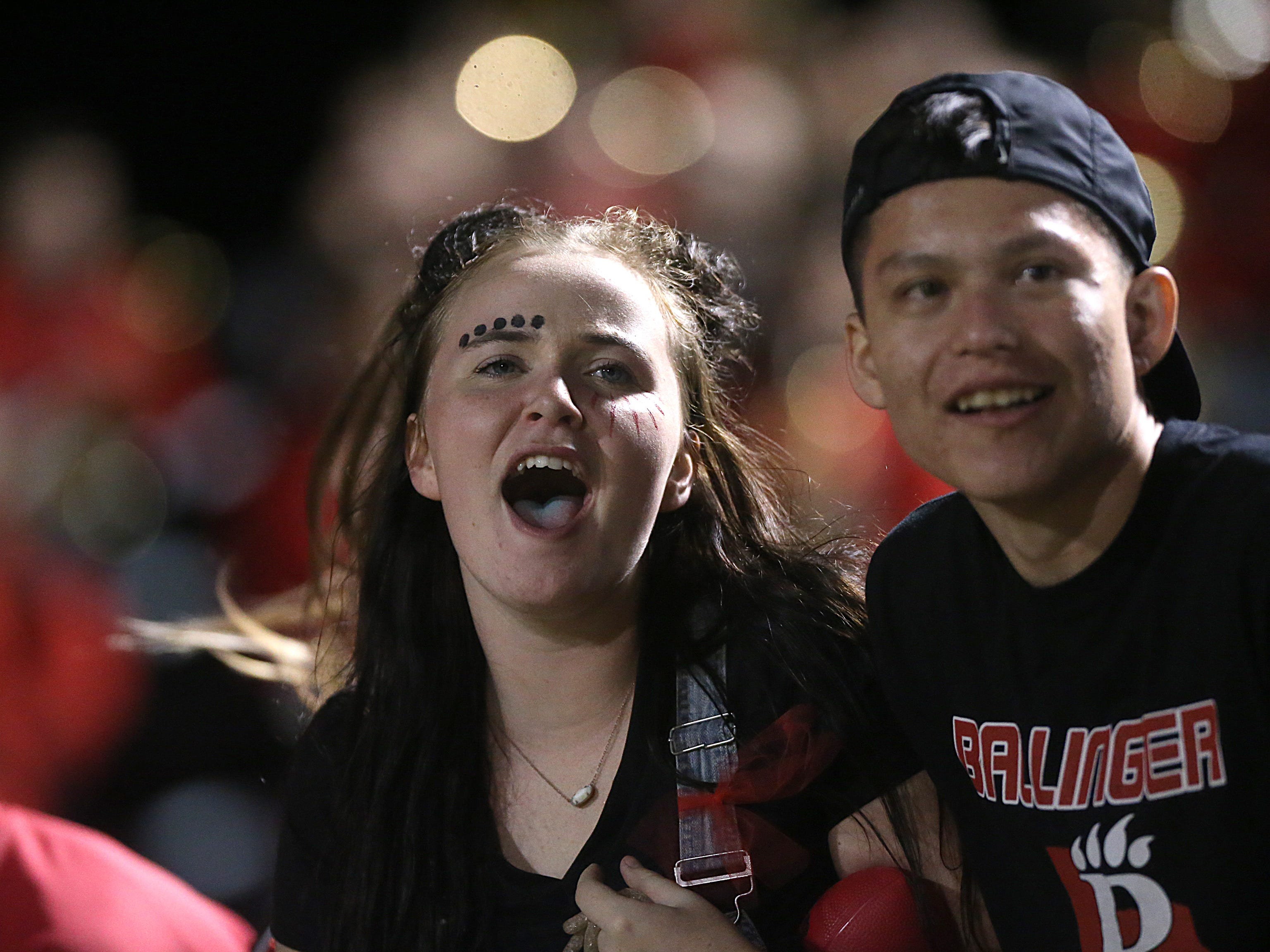 Ballinger fans cheer on their team during the game Friday, Oct. 5, 2018, against Anson.