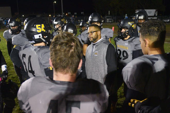 Wolsey-Wessington's Gordon Hooks talks to the team at half time during the game against Gregory Friday, Oct. 5, in Wolsey.