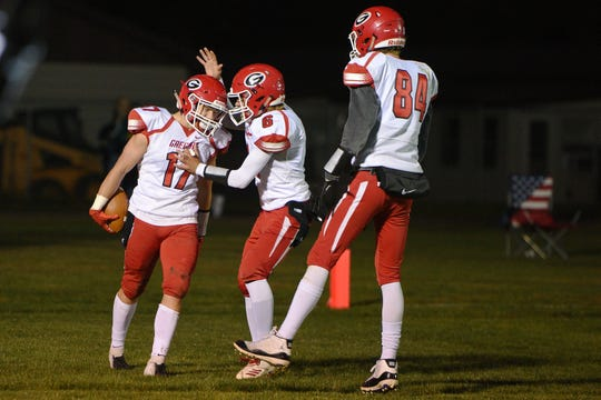 Gregory's Caleb Stukel scores a touchdown during the game against Wolsey-Wessington Friday, Oct. 5, in Wolsey.