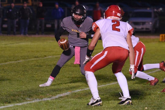 Wolsey-Wessington's Skylar Zomer goes against Gregory defense during the game Friday, Oct. 5, in Wolsey.