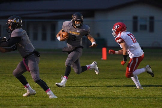 Wolsey-Wessington's Lynden Williams goes against Gregory defense during the game Friday, Oct. 5, in Wolsey.