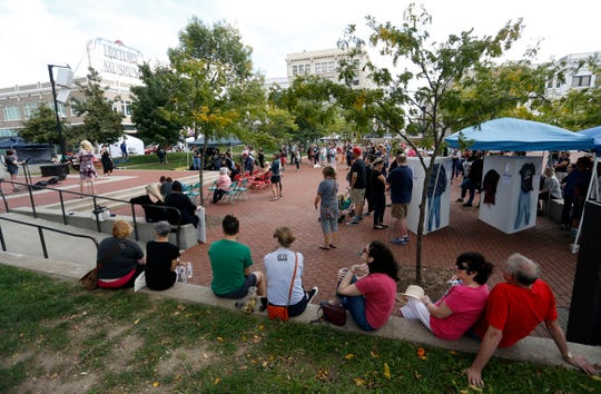 A few hundred people rally in downtown Springfield to support survivors of sexual assault at the Me Too Springfield rally on Saturday, Oct. 6, 2018.