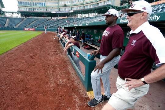 Ryan Howard talks with former MSU baseball coach Bill Rowe during the Missouri State Bears alumni baseball game at Hammons Field on Saturday, Oct. 6, 2018.