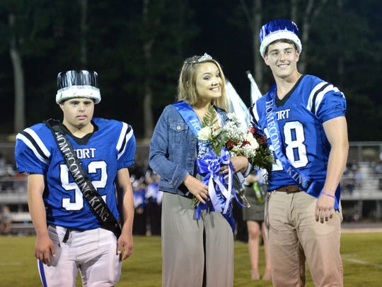 Fort's Homecoming Queen, Gwen Ragland, had two Homecoming Kings, Alex Niculescu (left) and Sam Hill.