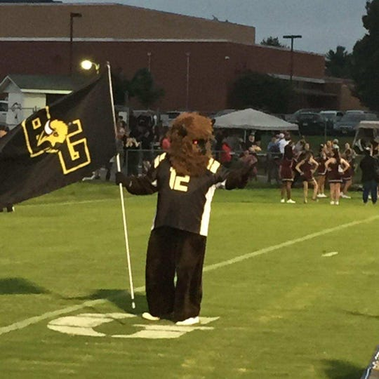 The Buffalo Gap Bison mascot was ready for some football Friday night.