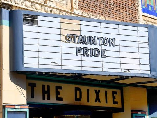 """Staunton Pride"" adorns the marque of The Dixie at the Staunton Pride festival in downtown Staunton on Saturday, Oct. 6, 2018."