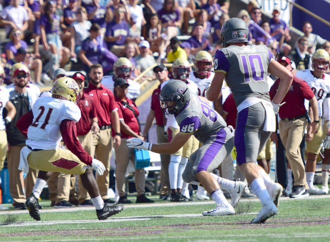 James Madison's Mack Cullen, a Wilson Memorial High school graduate,  looks for extra yardage after a first-half reception in the Dukes' 27-24 Colonial Athletic Association loss to Elon on Saturday, Oct. 6, 2018, at Bridgeforth Stadium in Harrisonburg, Va.