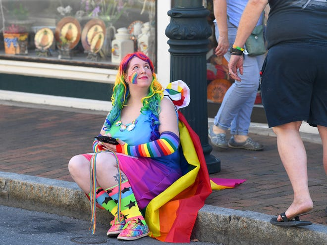 Khory Hawkins of Staunton is dressed in rainbow colors at the Staunton Pride festival in downtown Staunton on Saturday, Oct. 6, 2018.
