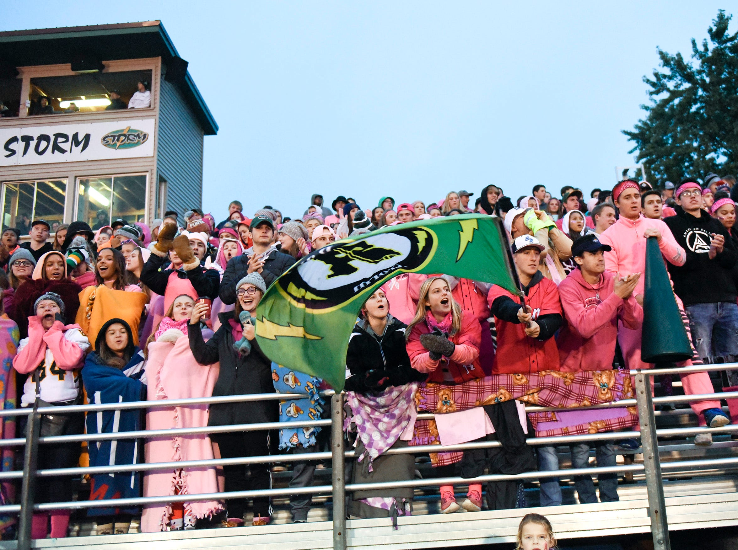 Sauk Rapids fans cheer during the game against Tech Friday, Oct. 5, in Sauk Rapids.
