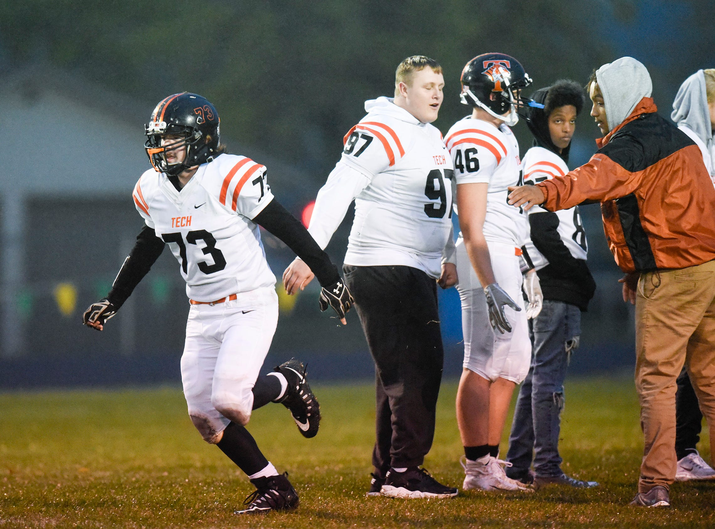 Tech's Austin Applegate is introduced before the start of the game Friday, Oct. 5, in Sauk Rapids.