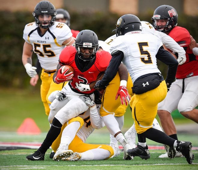 St. Cloud State running back Gregory Lewis is stopped by Wayne State's defense during the first half Saturday, Oct. 6, at Husky Stadium.