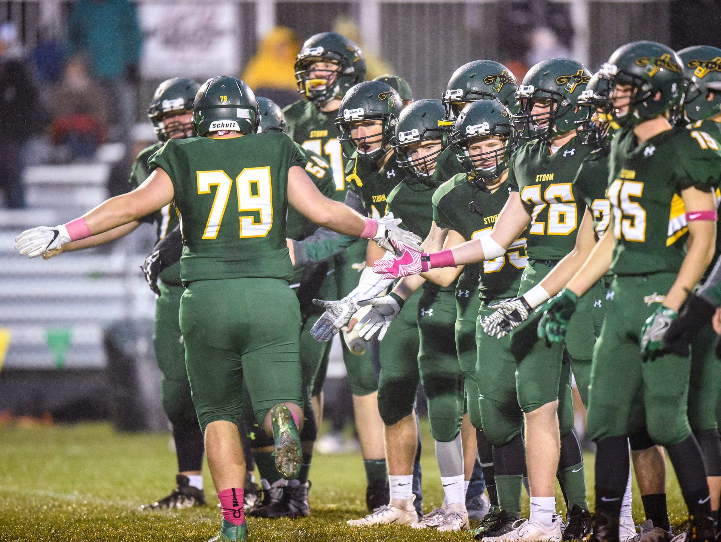 Sauk Rapids players are introduced before their game against Tech Friday, Oct. 5, in Sauk Rapids.