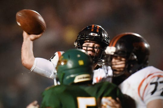 Tech quarterback Nate Trewick makes a pass against Sauk Rapids during the first half Friday, Oct. 5, in Sauk Rapids.