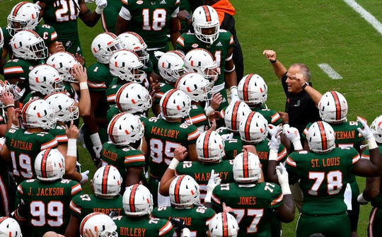 Oct 6, 2018; Miami Gardens, FL, USA: Miami Hurricanes head coach Mark Richt reacts with his players before a game against Florida State Seminoles at Hard Rock Stadium. Mandatory Credit: Steve Mitchell-USA TODAY Sports