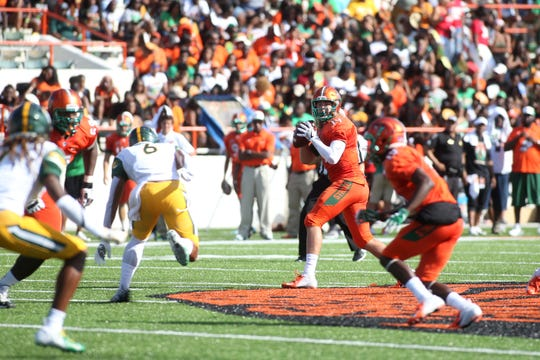 FAMU quarterback Ryan Stanley drops back to pass against Norfolk State. His Rattlers secured a 17-0 win over the Spartans.
