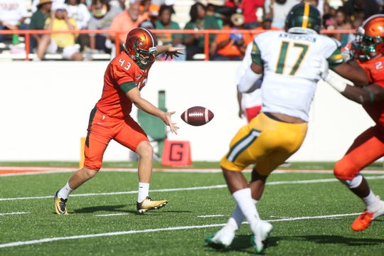 FAMU's Chris Faddoul gets set to blast a punt against Norfolk State. The first-team AP All-American led the nation (FCS) in average at 46.8 yards per kick. He earned a 4.0 for the fall 2018 semester.