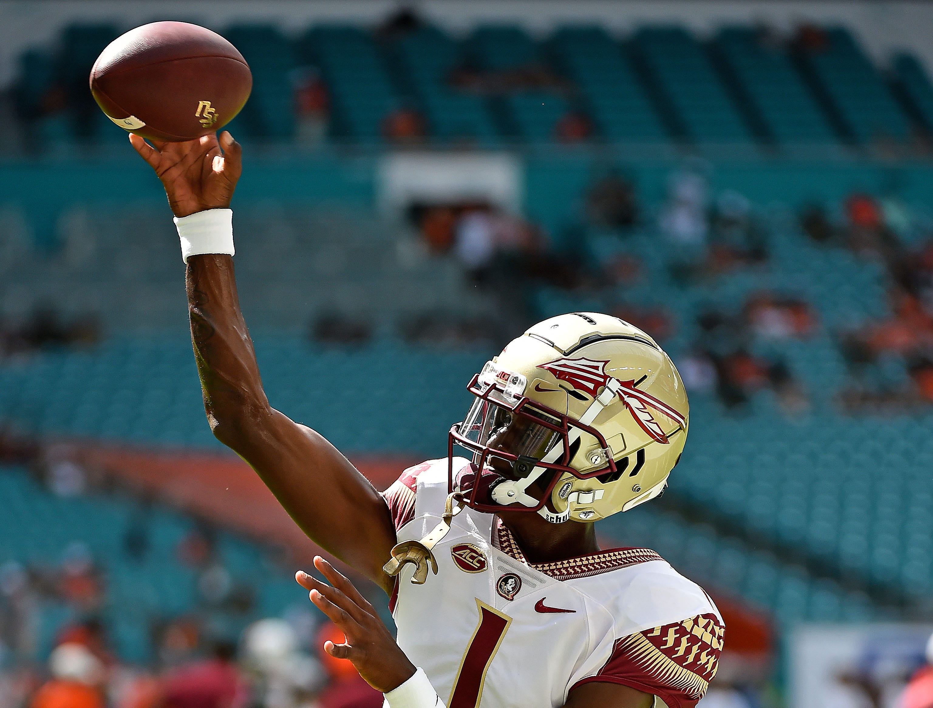 Oct 6, 2018; Miami Gardens, FL, USA; Florida State Seminoles quarterback James Blackman (1) warms up prior to the game against the Miami Hurricanes at Hard Rock Stadium. Mandatory Credit: Jasen Vinlove-USA TODAY Sports
