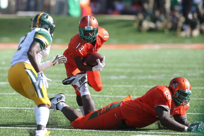 Running back Bishop Bonnett rushed for 80 yards with a touchdown against Norfolk State on Saturday, Oct. 6, 2018 at Bragg Memorial Stadium.
