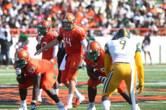 FAMU quarterback Ryan Stanley surveys the field versus Norfolk State.