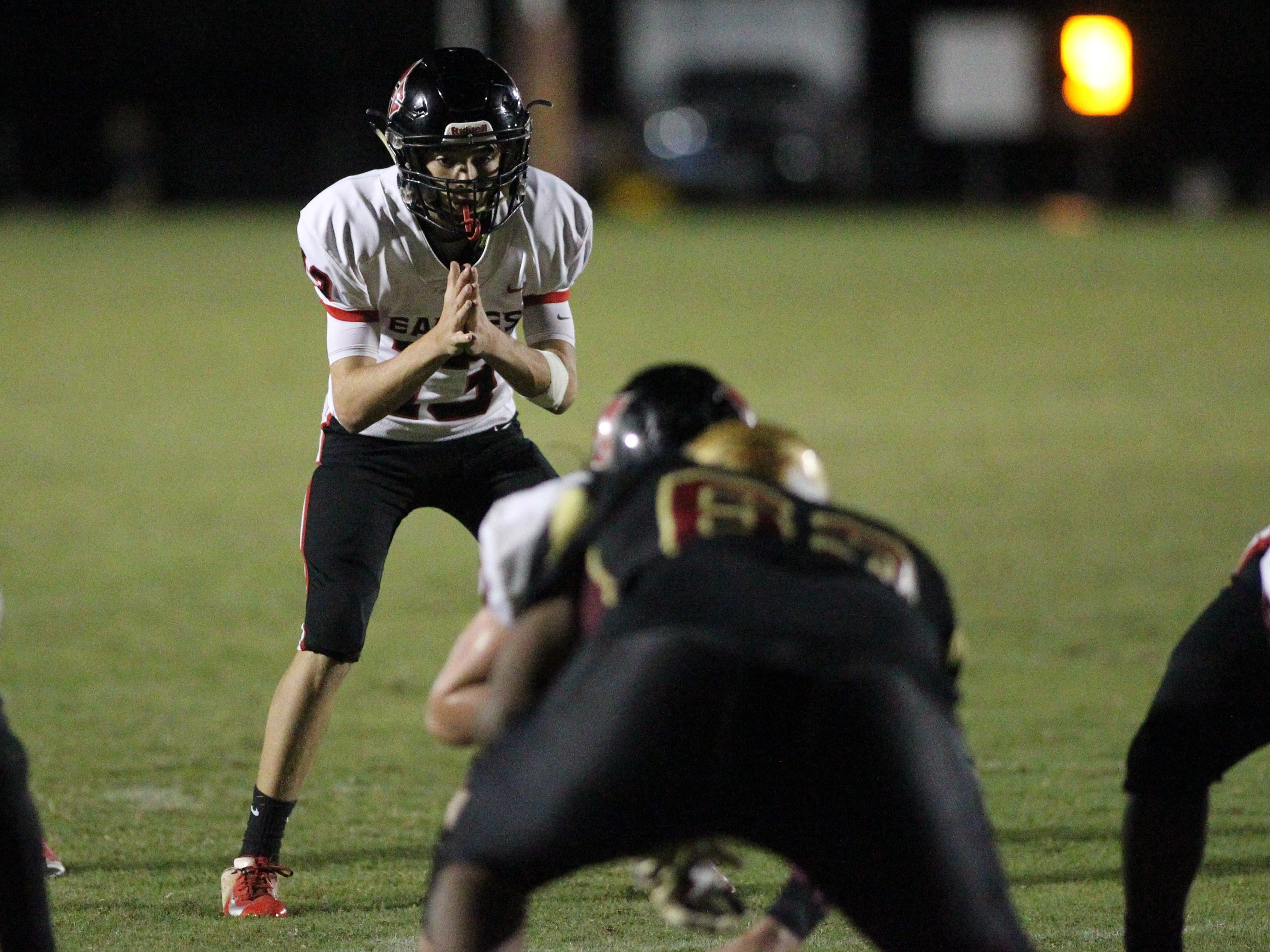NFC freshman quarterback Drew Faurot prepares for a snap during a game at Florida High.