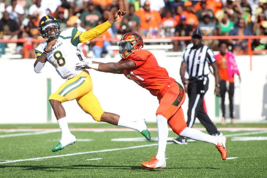 FAMU's defense pressured Norfolk State quarterback Juwan Carter all day long in the 17-0 homecoming win in 2018. The Rattlers aim to intensify their force in the MEAC opener this Saturday in Virginia.