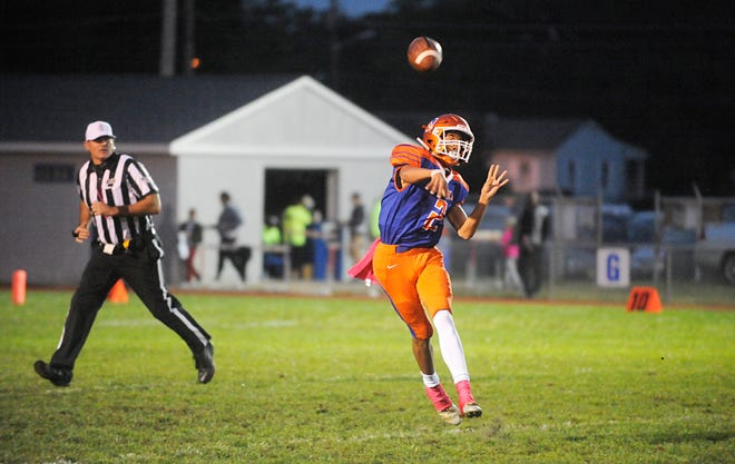 Millville QB, Eddie Jamison (2) throws for a completion against visiting Timber Creek. The Thunderbolts defeated the Chargers 42-20 on Friday, October 5, 2018.