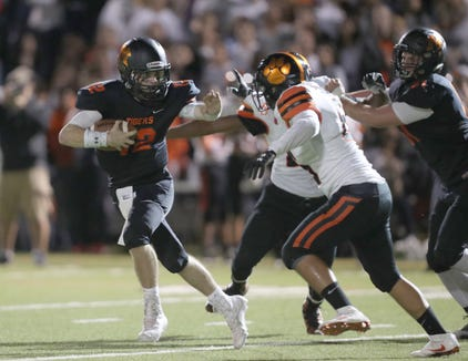 Mamaroneck defeats White Plains 55-41 in football action at Mamaroneck High School on Friday, October 5, 2018.
