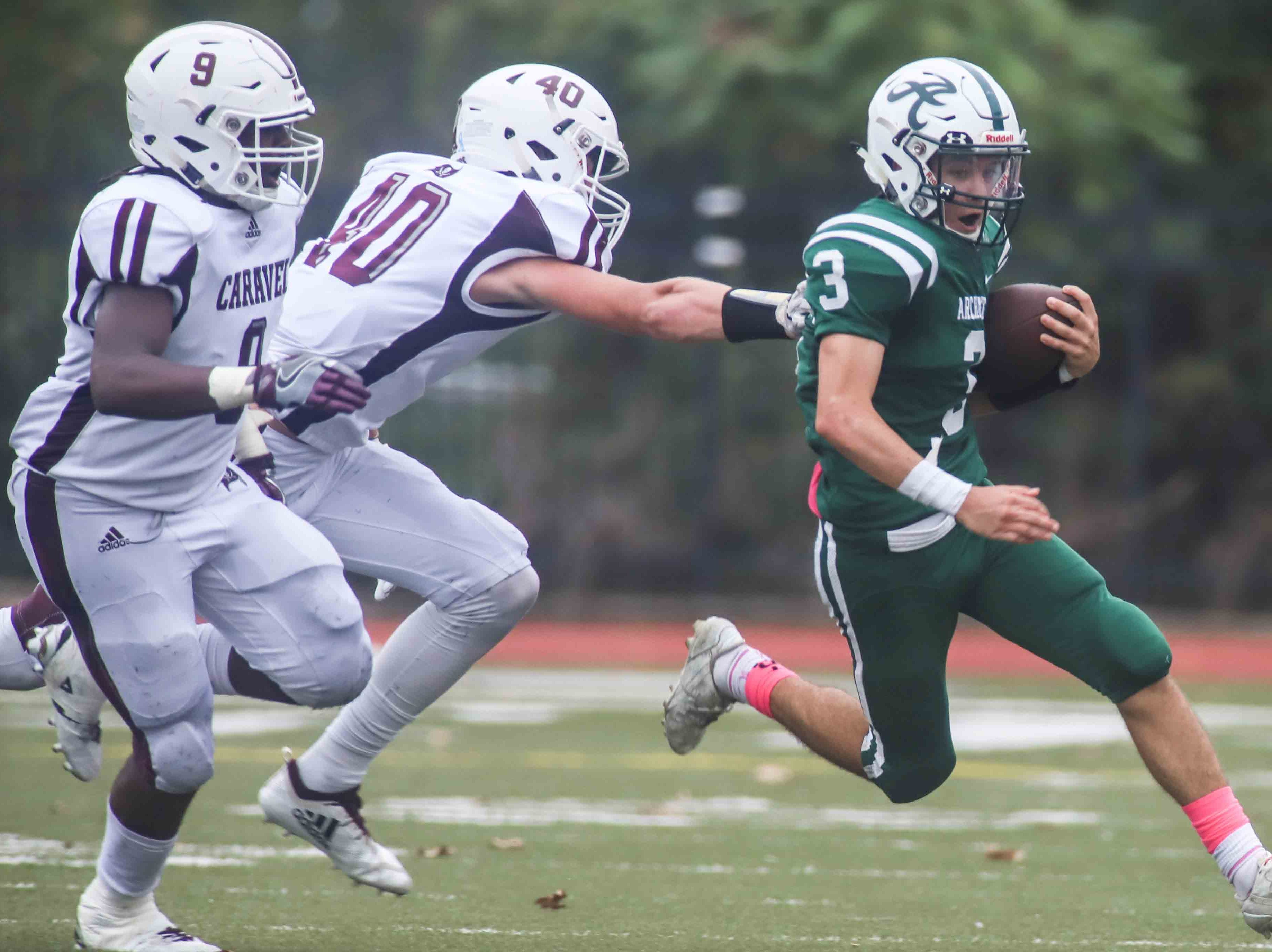 Archmere running back Vincent Iannello (3) gains positive yards during a week five DIAA game between Archmere Academy Auks and Caravel Academy, Saturday, Oct. 06, 2018, at Coaches Field on the campus of Archmere Academy in Wilmington, DE.