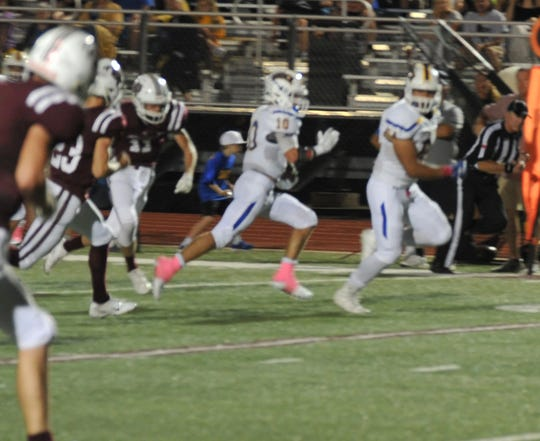 Brock Eagles Running Back Toby Morrison breaks free during their game in Bowie against the Jack Rabbits Friday night.