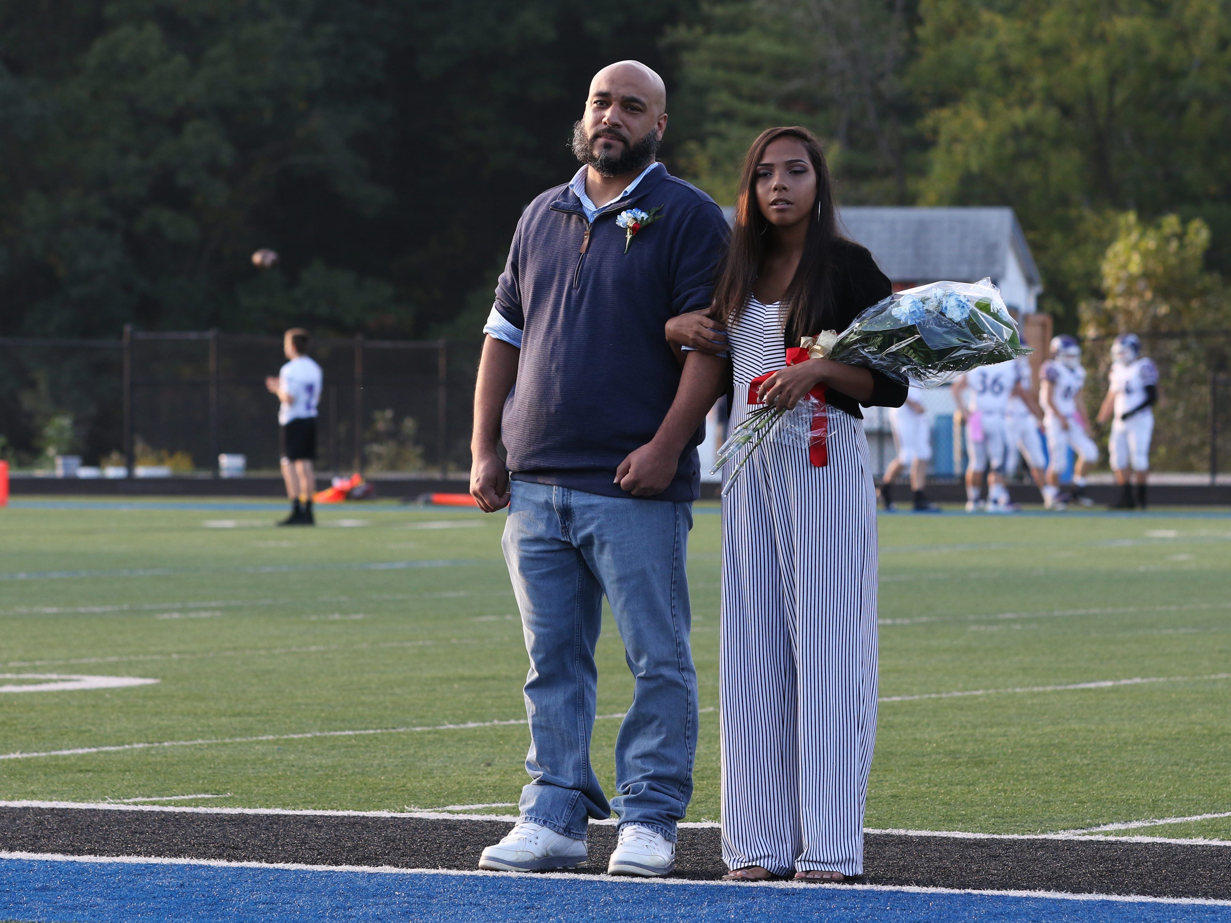 Freshman attendant Jayla Curtis with her father Josh Curtis.