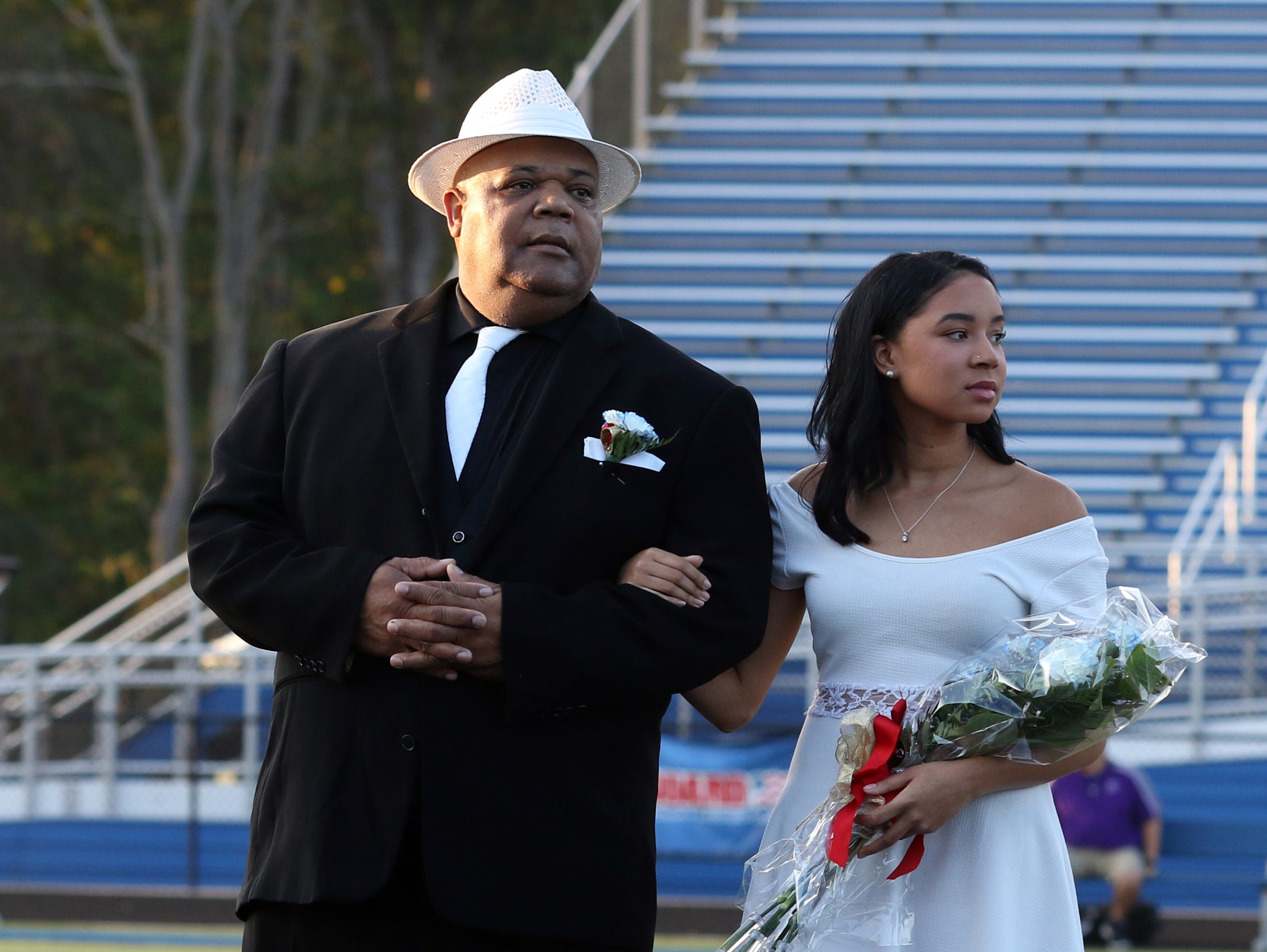 Senior attendant Shalen Johnson and her father Keith Wyatt.