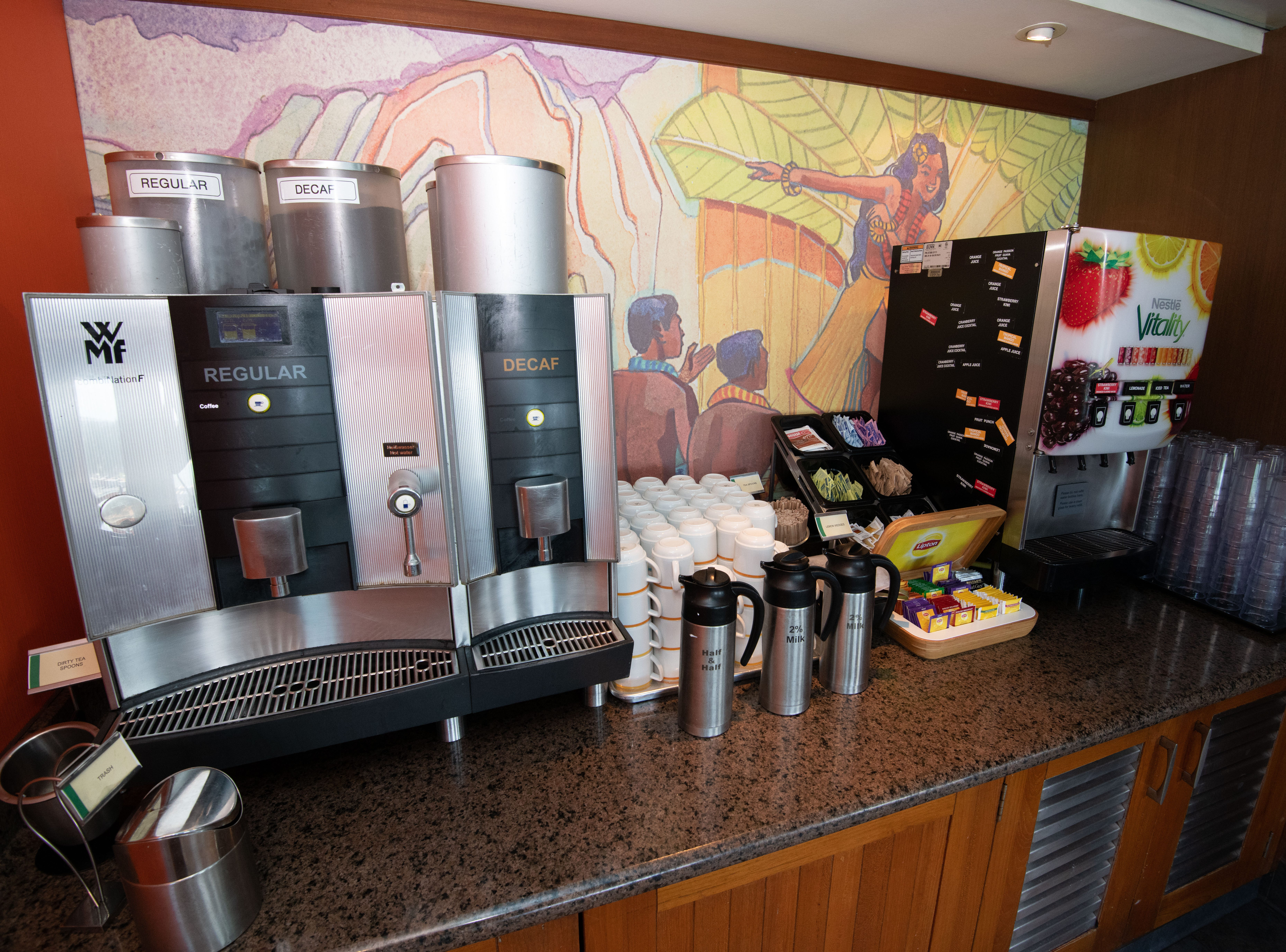 Coffee, tea and juices are available at no extra charge in the Aloha Cafe.