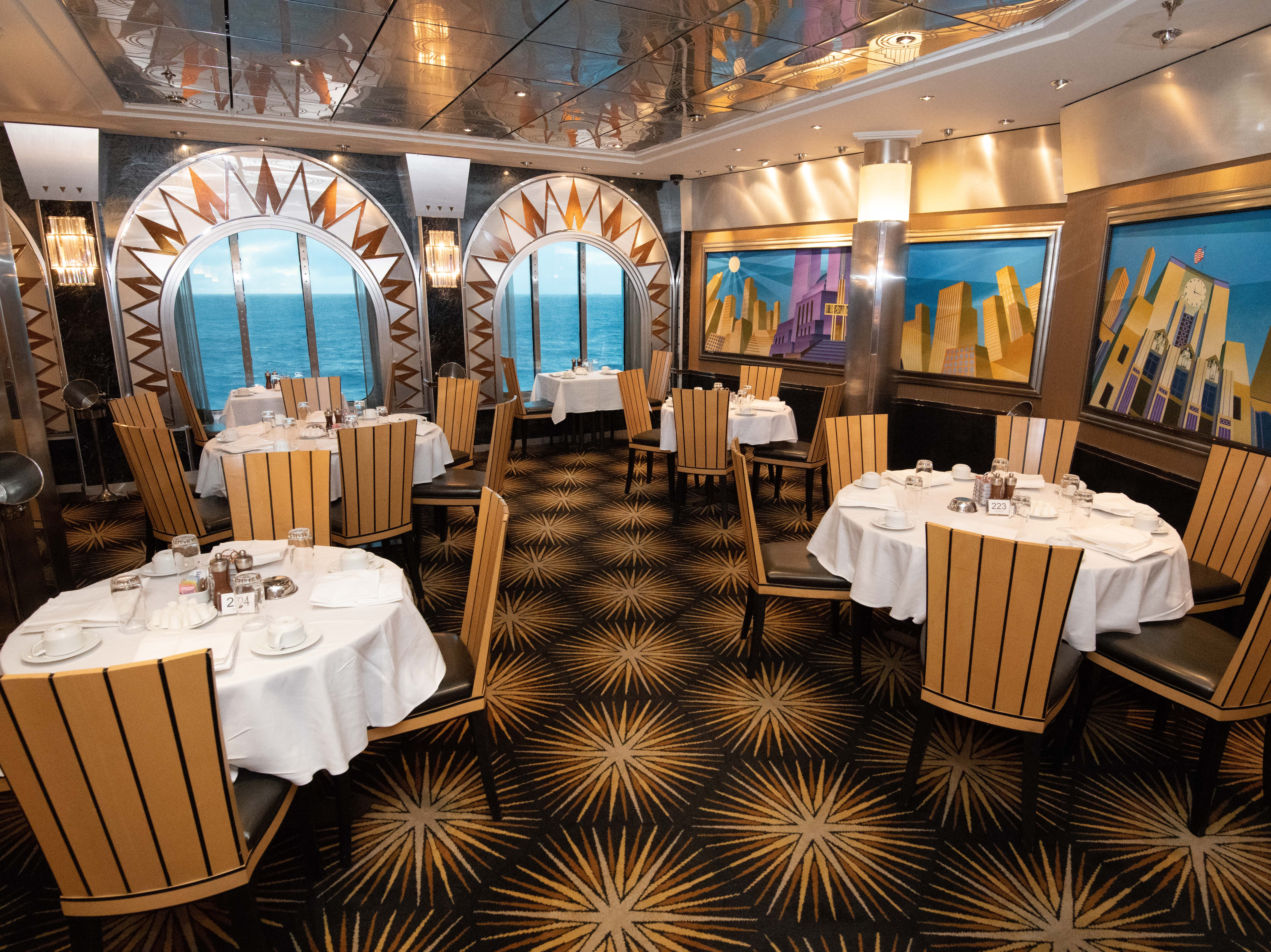 Located at the back of the ship on Deck 5, Skyline Main Dining Room is open for breakfast, lunch and dinner.