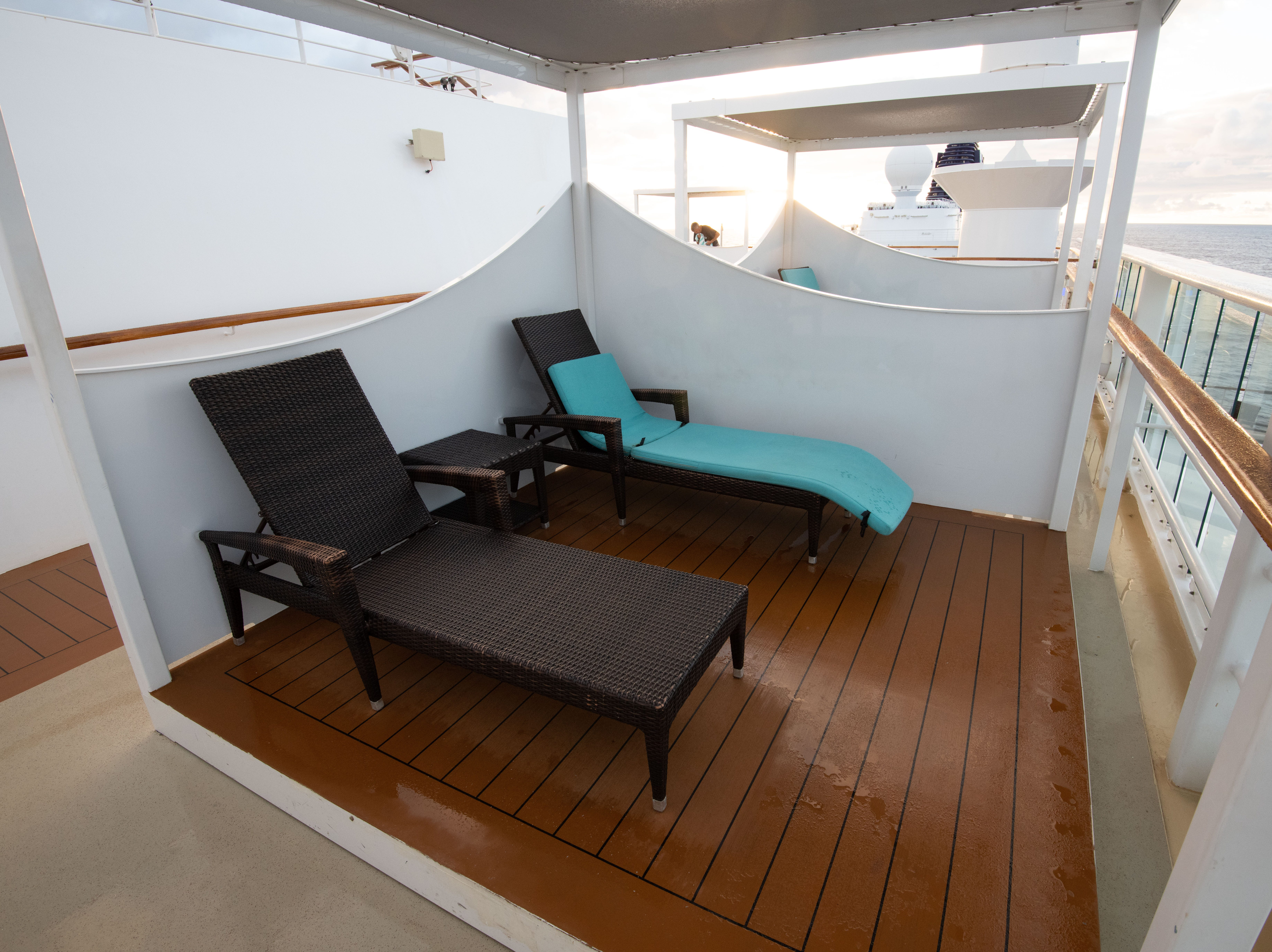 Deck 14 features a number of private, covered cabana areas with lounge seating. Unlike on many other ships across the cruise industry, the cabanas are available to passengers at no extra charge on a first-come, first-serve basis.