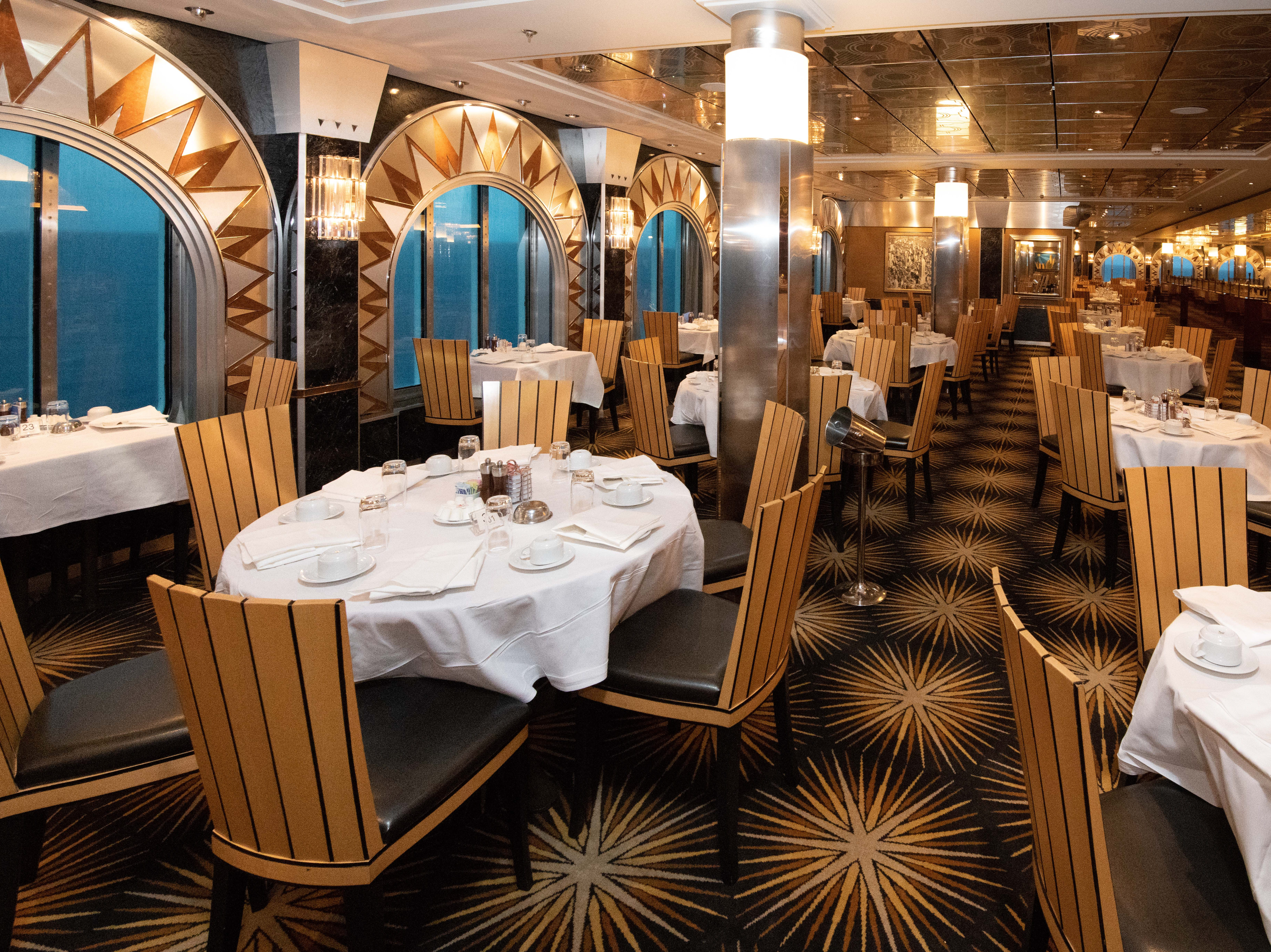Featuring an Art Deco decor inspired by the architecture and skyscrapers of 1930s Manhattan, the Skyline Main Dining Room is one of two main dining rooms on Pride of America that are included in the fare.
