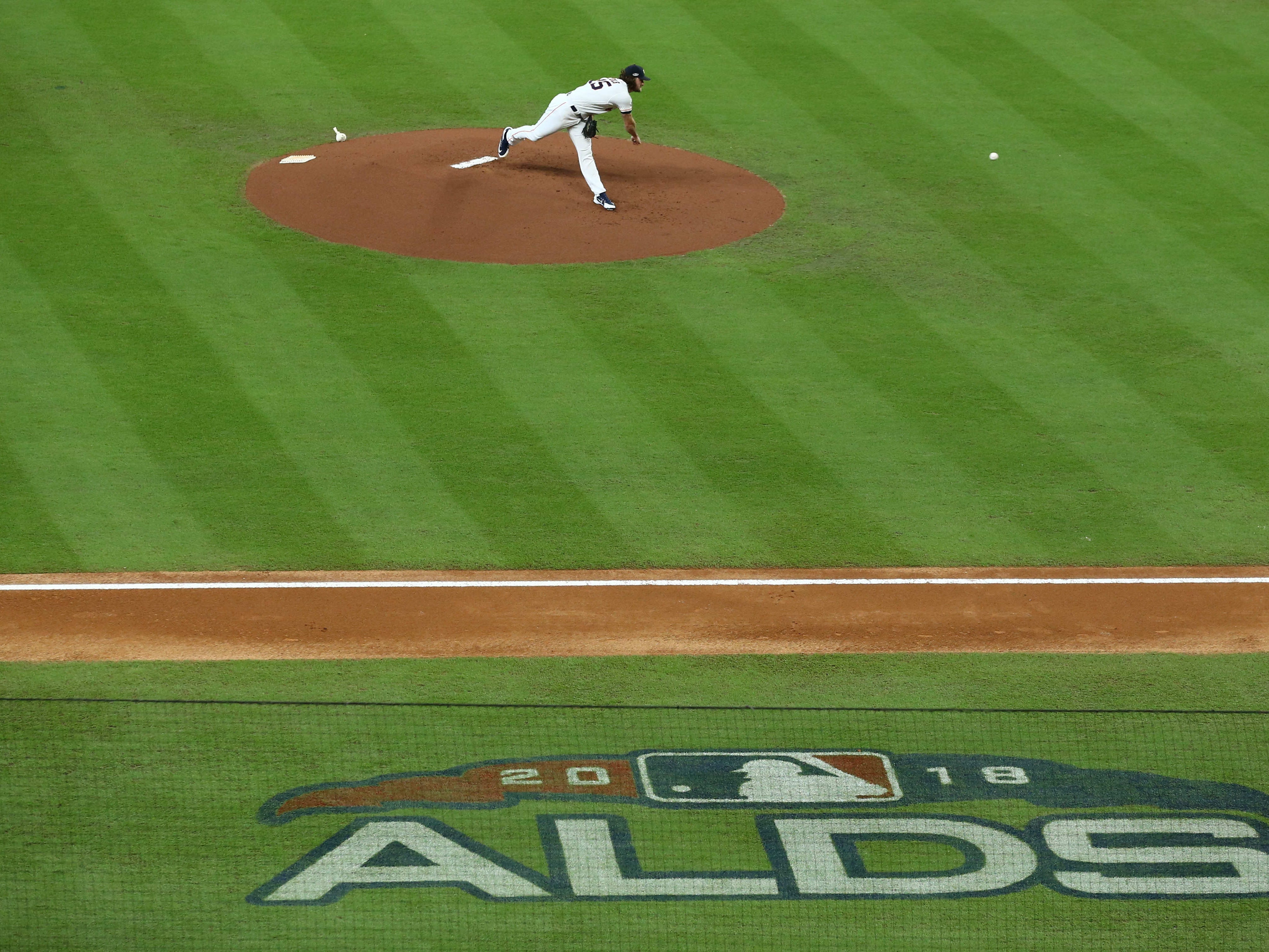 ALDS Game 2: Astros starting pitcher Gerrit Cole delivers a pitch.