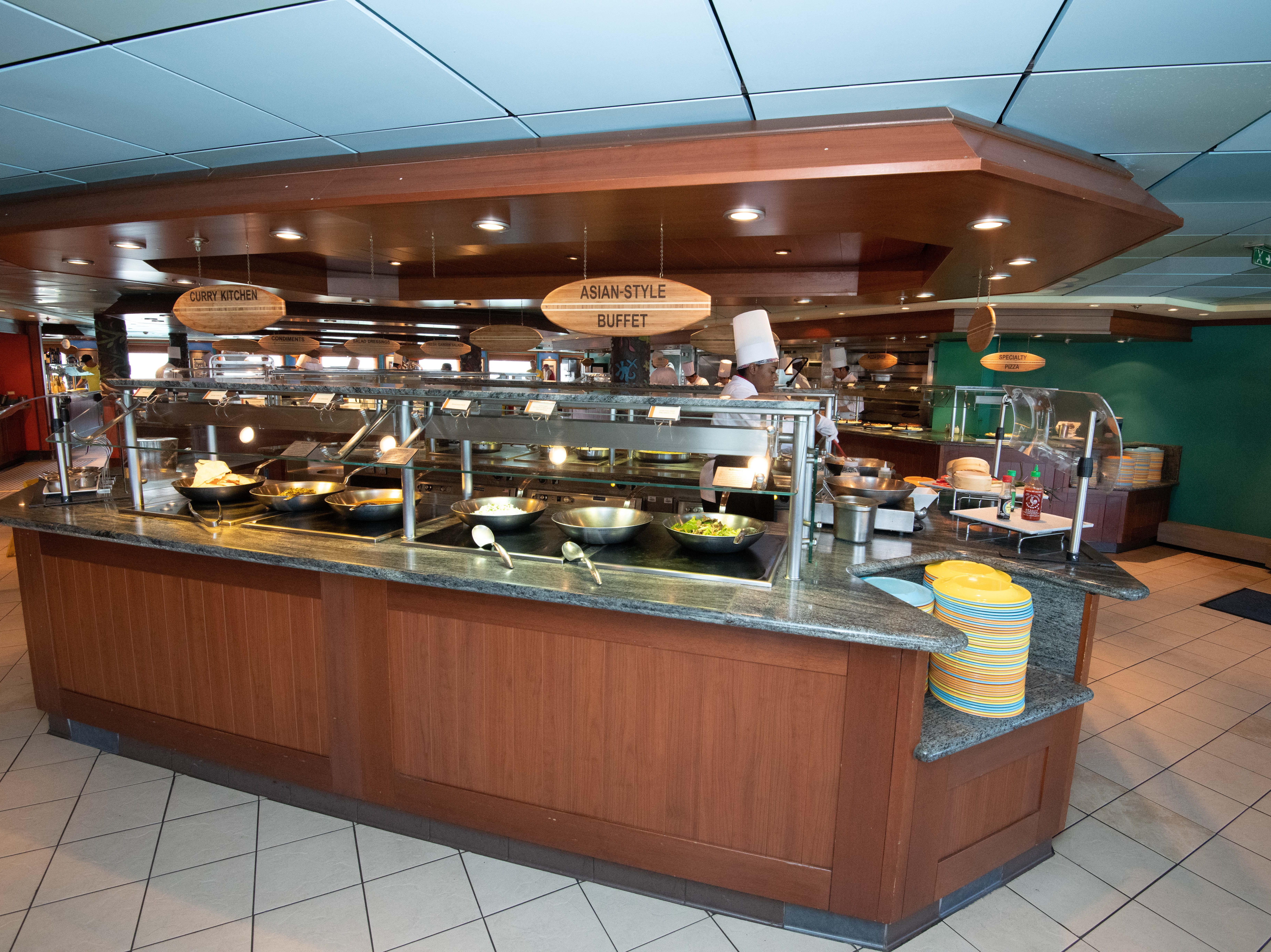 The Aloha Cafe offers a wide range of cuisines during mealtimes including everything from American-style burgers to Indian curries.