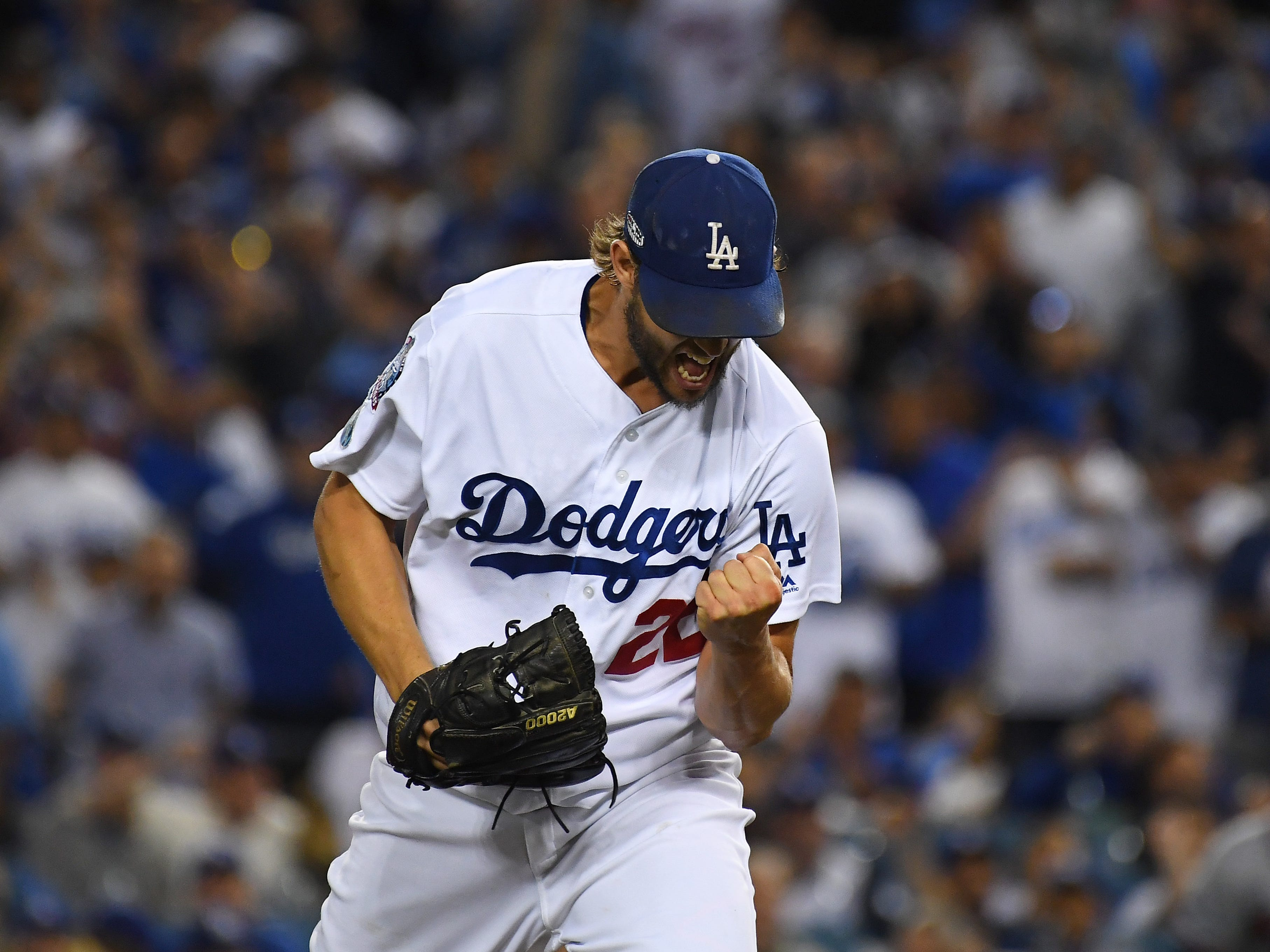 NLDS Game 2: Clayton Kershaw is pumped up in the first inning.